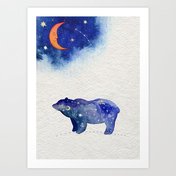 Bear And Moon Magical Night Sky Watercolor Art Painting